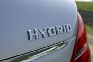 Close-up of a vehicle's hybrid label